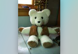 memory bear made from shearling vest