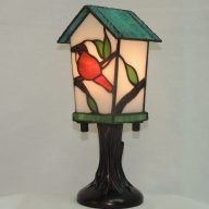 bird house stained glass accent lamp