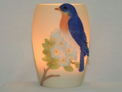bluebird hand painted accent lamp
