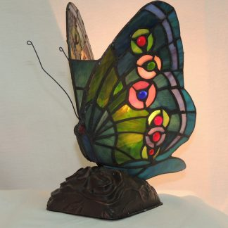 butterfly multi-color stained glass accent lamp
