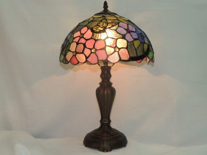 butterfly peony stained glass table lamp