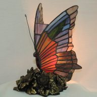 butterfly sunflowers stained glass lamp