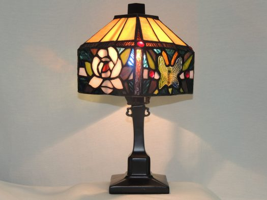 butterfly rose stained glass lamp