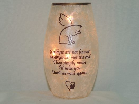 cat crackled glass lamp