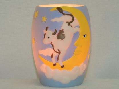 cow over moon hand painted lamp