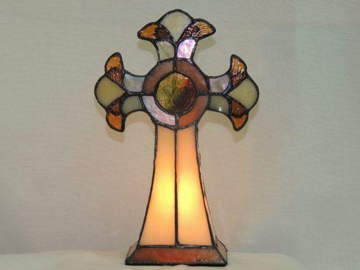 cross tiffany style accent lamp