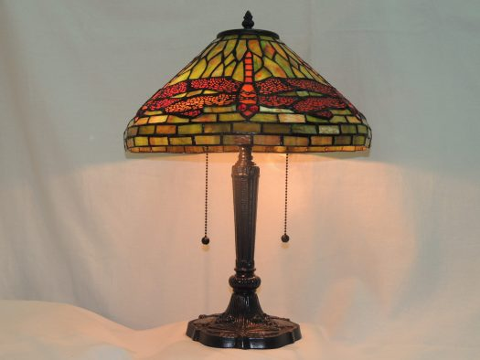 dragonfly red and green stained glass lamp