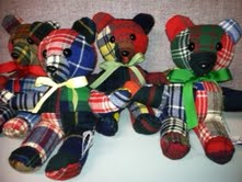 memory bear family plaid