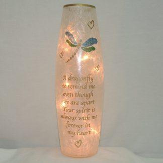 dragonfly crackled glass vase lamp