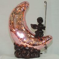 pink moon cherub accent lamp