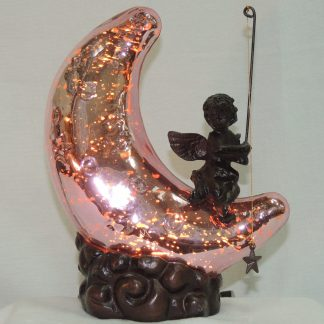 pink moon cherub accent lamp