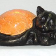 amber crackled glass sleeping cat accent lamp