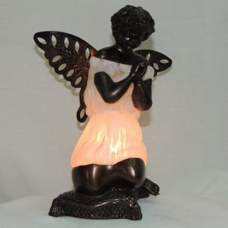 white praying angel memory lamp in memory of a loved one.