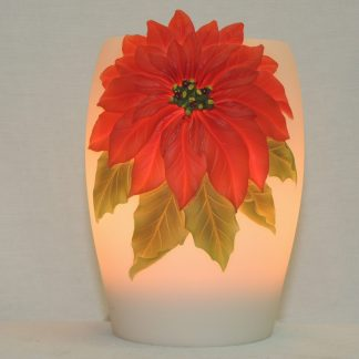 poinsettia hand painted night lamp for any occasion.