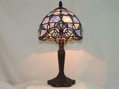 scallop blue opal effect lamp with fleur de lis accents.