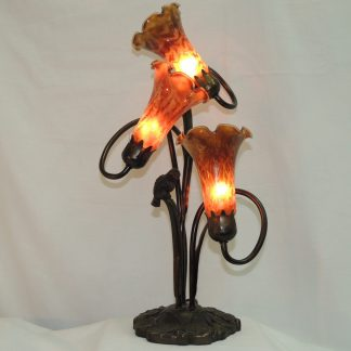 triple lily amber shade cardinal lamp