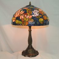 stained glass table lamp with roses