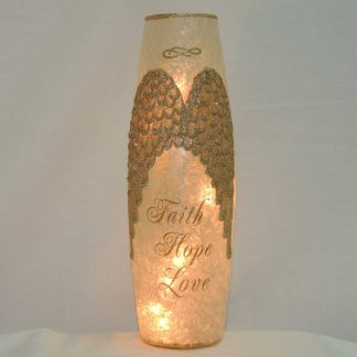 angel wings lit vase