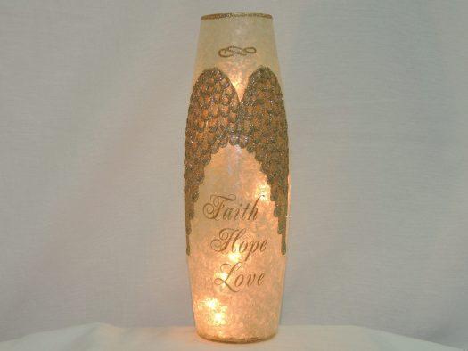 angel wings lit vase