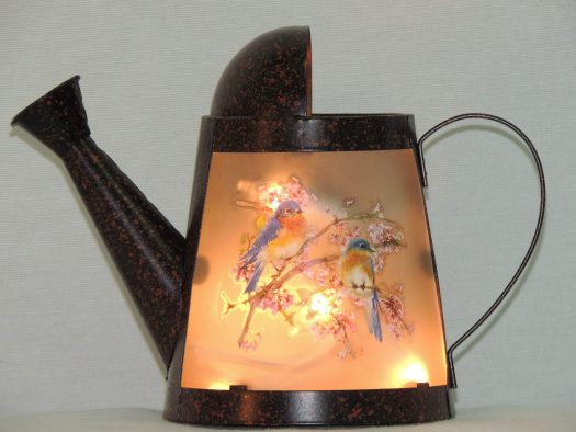 bluebirds mini watering can memory lamp