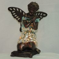praying angel teal/silver memorial lamp
