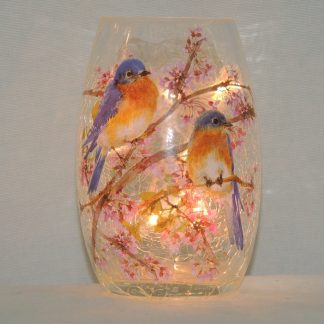 bluebirds small clear accent lamp vase