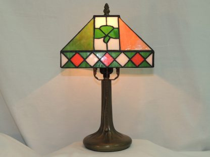 irish colors and shamrock stained glass lamp