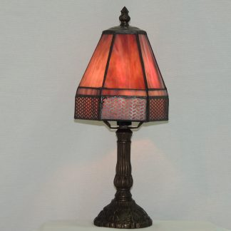 purple stained glass accent lamp with lattice design