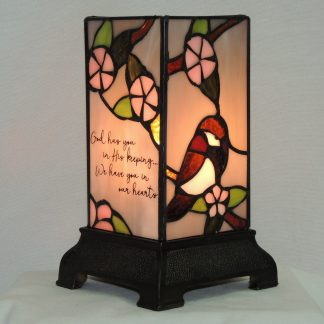 his keeping stained glass memorial lamp