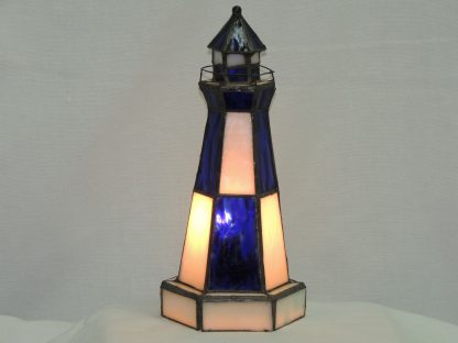 stained glass blue and white lighthouse lamp