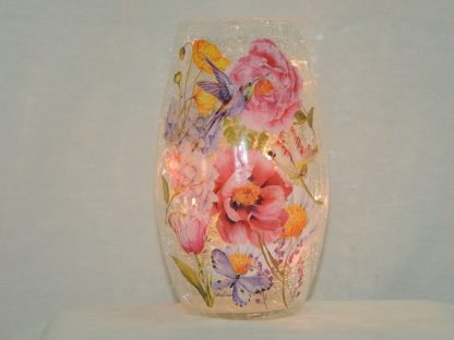hummingbird butterfly hand painted floral vase lamp