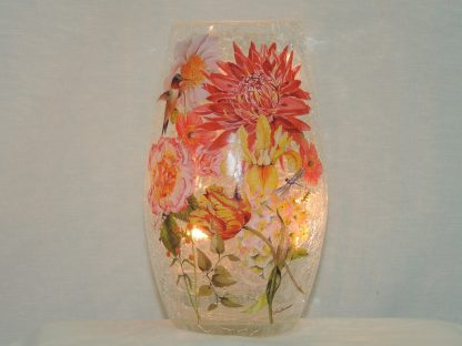 hummingbird dragonfly floral hand painted vase accent lamp