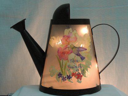 mom hummingbird floral watering can memory lamp