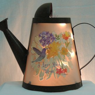 mom hummingbird floral watering can memory lamp