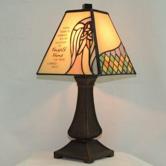 angels' arms stained glass memorial lamp
