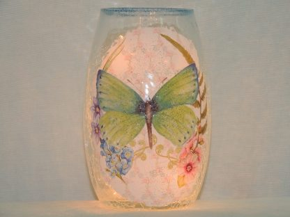 butterfly green floral pre-lit vase hand painted small