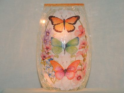 butterfly multi floral pre-lit vase hand painted small
