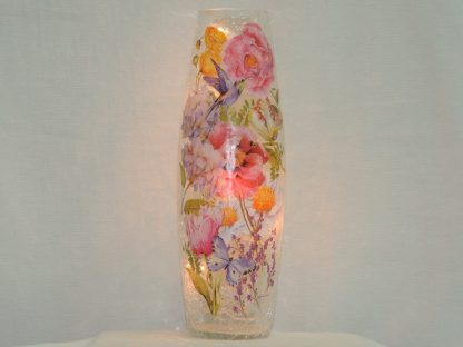 hummingbird butterfly hand painted floral vase lamp tall