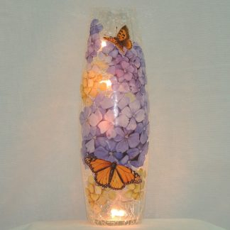 hydrangeas and monarchs hand painted crackled lit vase large