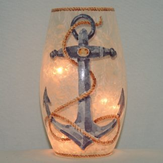 hand painted lit anchor vase