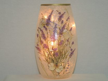 hand painted butterfly lavender floral lit vase