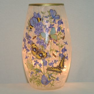 hand painted multi butterfly floral lit vase