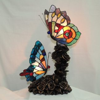 double butterfly tiffany style accent lamp