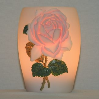 cottage rose bonded marble hand painted night lamp