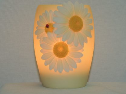 ladybug and daisies hand painted bonded marble night lamp