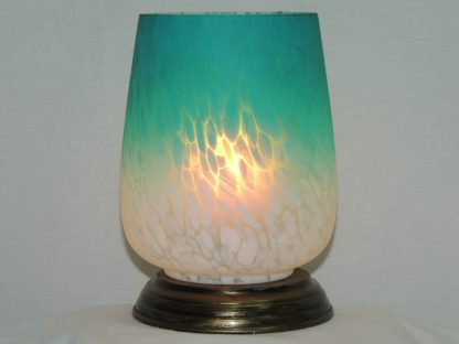 ombre teal white blown glass memory lamp