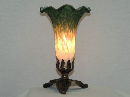 lily blown glass green white memory lamp