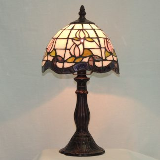 pink rose tiffany style memory lamp