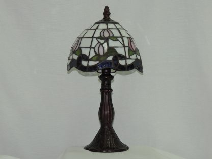 pink rose stained glass accent lamp