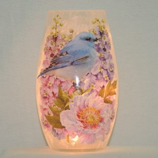 bluebird rose memory lamp vase gift
